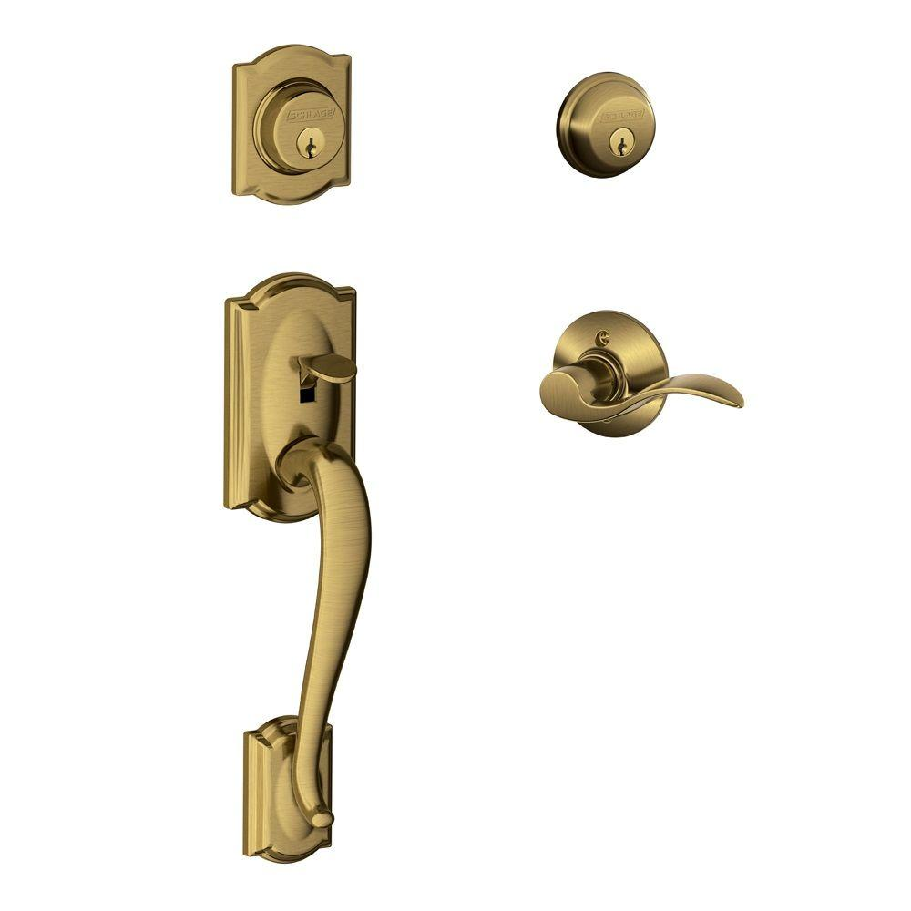Camelot Antique Brass Double Cylinder Deadbolt with Left Handed Accent Lever
