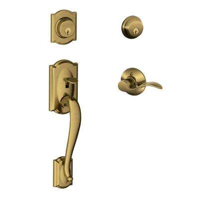 Camelot Antique Brass Double Cylinder Deadbolt With Left Handed Accent  Lever Door Handleset