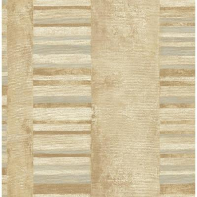 Judson Metallic Gold and Gray Striped Wallpaper
