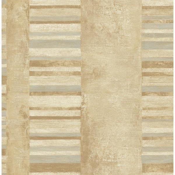 Seabrook Designs Judson Metallic Gold and Gray Striped Wallpaper MW30305