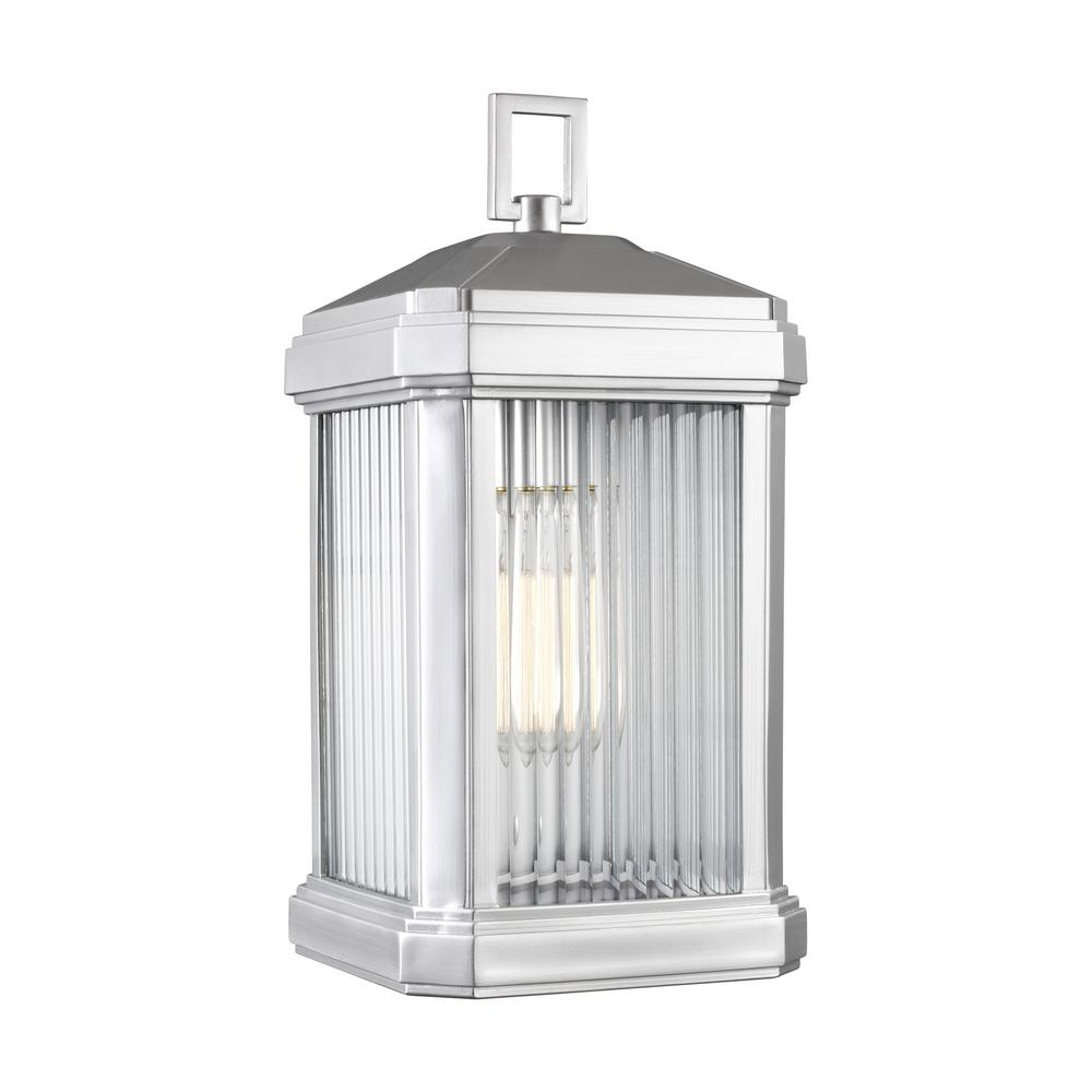 Sea Gull Lighting 1-Light Gaelan Painted Brushed Nickel Outdoor Wall Lantern Sconce with LED Bulb