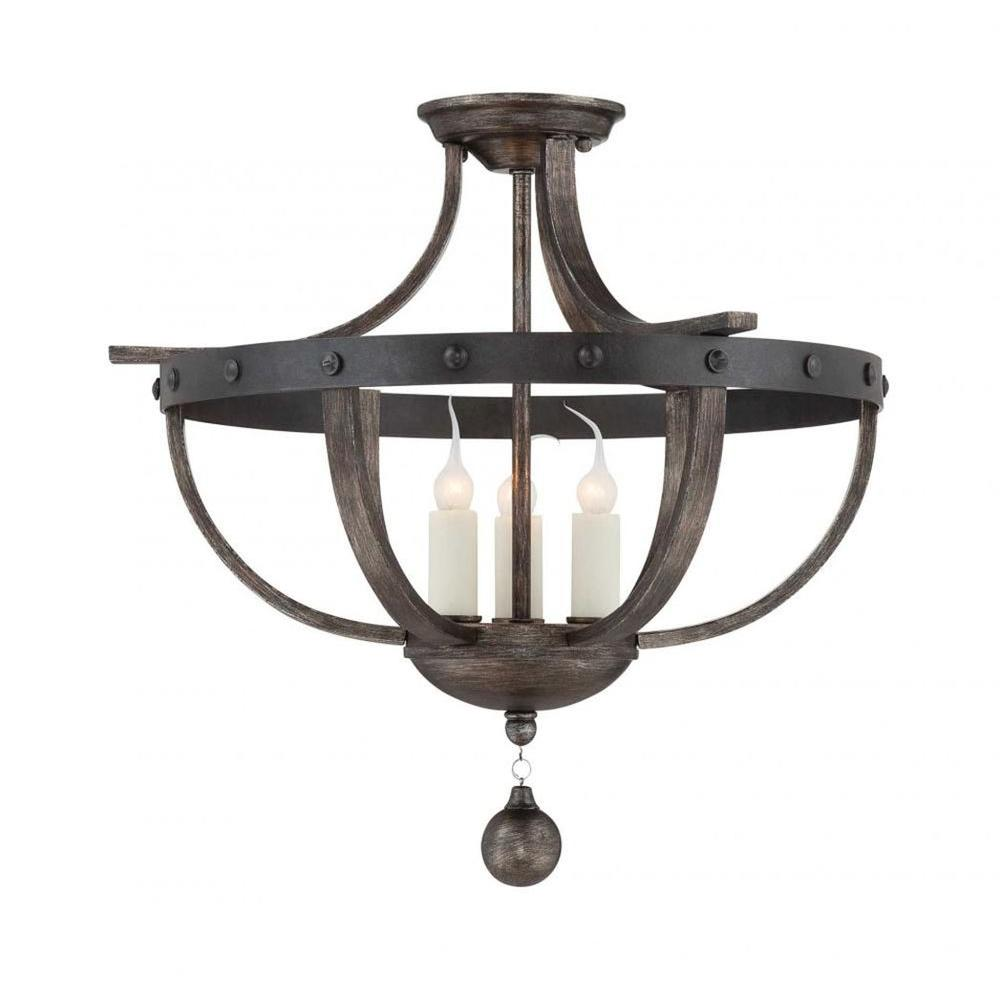 Aumbrie 3-Light Reclaimed Wood Semi Flush Mount