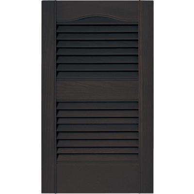 15 in. x 25 in. Louvered Vinyl Exterior Shutters Pair in #010 Musket Brown