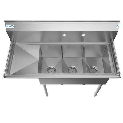 Freestanding Stainless Steel 45 in. 2-Hole Triple Bowl Commercial Kitchen Sink