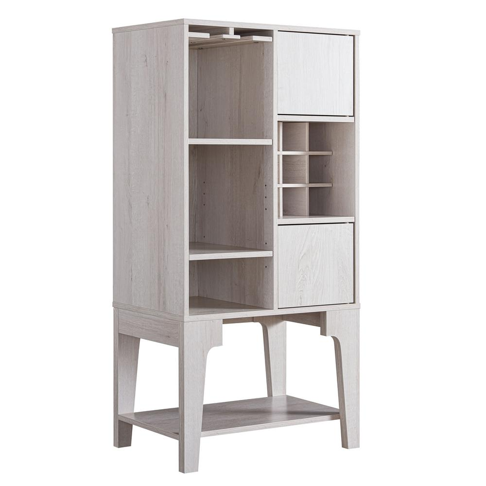 Esme Weathered White Wine Cabinet With Adjustable Shelves