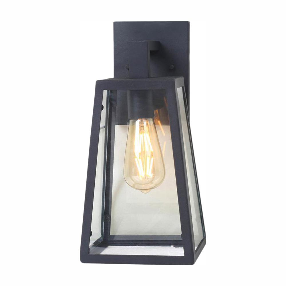 Home Decorators Collection Colonade Collection 1-Light Sand Black Outdoor Wall Lantern Sconce with Clear Glass