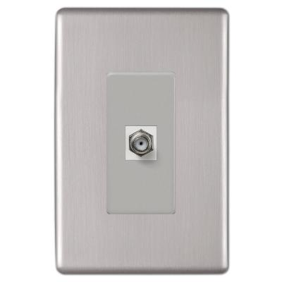 Kentley 1 Gang Coax Steel Wall Plate - Brushed Nickel