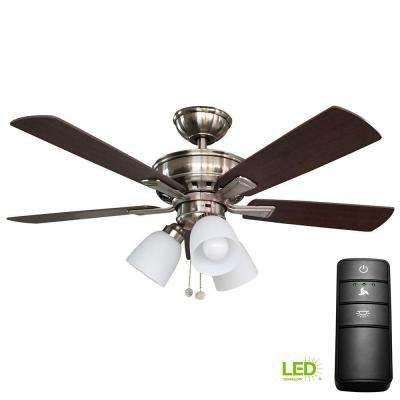 Vaurgas 44 in. LED Brushed Nickel Ceiling Fan with Light Kit and Remote Control