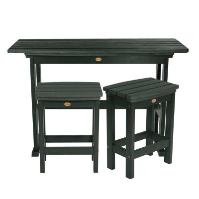 Lehigh Charleston Green 3-Piece Plastic Rectangular Bar Height Outdoor Dining Set
