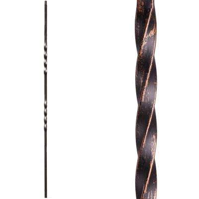 Twist and Basket 44 in. x 0.5 in. Oil Rubbed Bronze Double Twist Hollow Wrought Iron Baluster