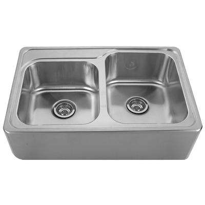 Noah's Collection Front Apron Brushed Stainless Steel 33 in. 0-Hole Double Basin Kitchen Sink