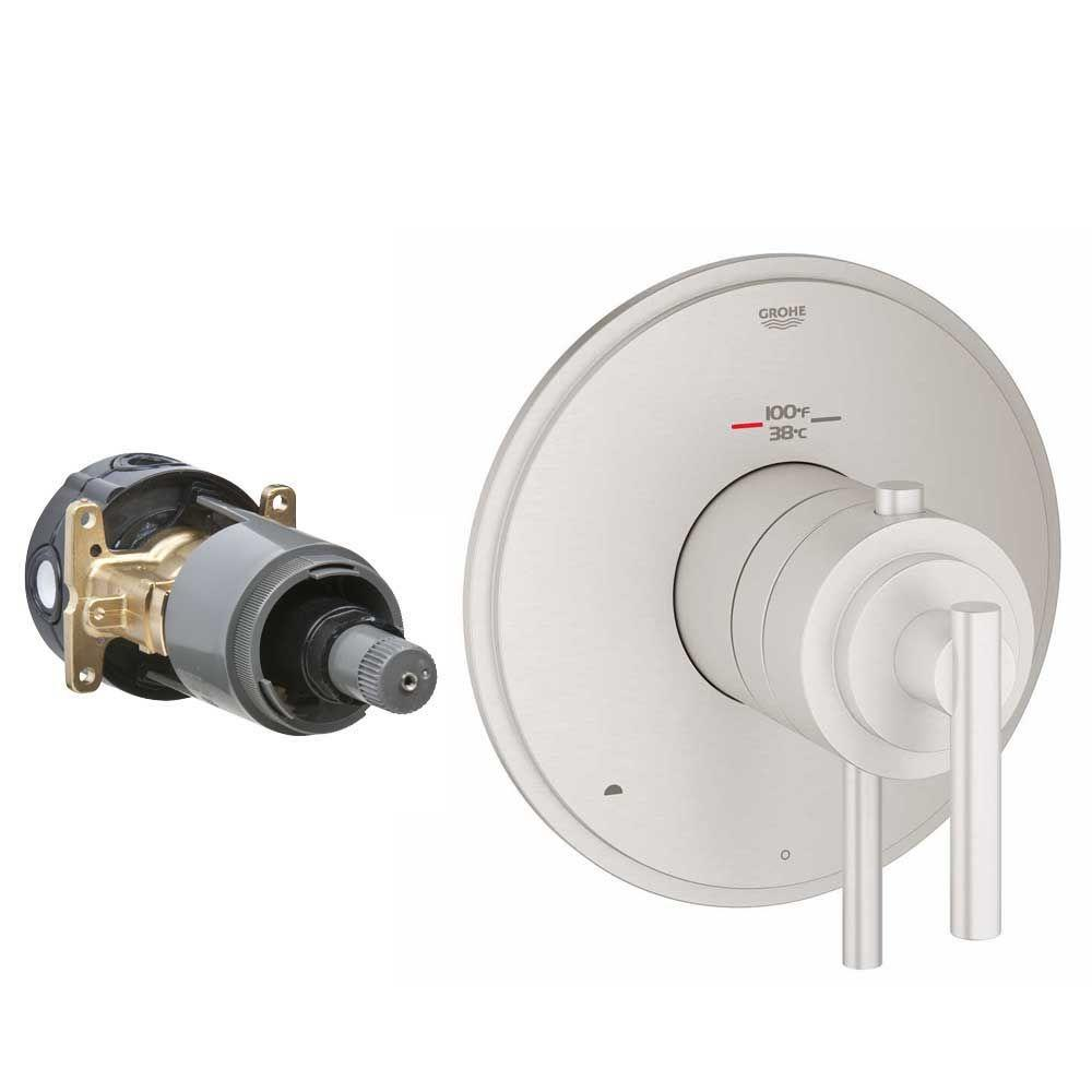 GROHE Timeless 2-Handle GrohFlex Universal Rough-In Box Dual Function Thermostatic Kit in Brushed Nickel