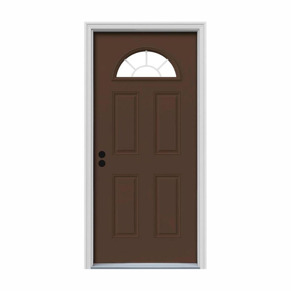 30 in. x 80 in. Fan Lite Dark Chocolate Painted Steel Prehung Right-Hand Inswing Front Door w/Brickmould