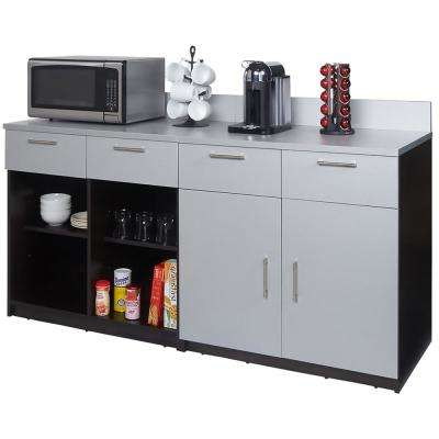 Coffee Kitchen Espresso and Silver Sideboard with Lunch Break Room Functionality with Assembled Commercial Grade