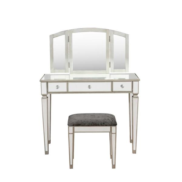Linon Home Decor Arlo 2-Piece Silver Grey Mirrored Vanity Set