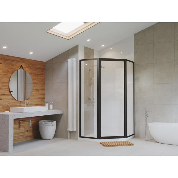 Coastal Shower Doors Legend 59 In X 66 In Framed Neo Angle Hinged Shower Door In Matte Black And Clear Glass Nl16271666o C The Home Depot
