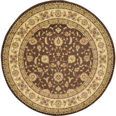 Agra Brown 8 ft. Round Area Rug