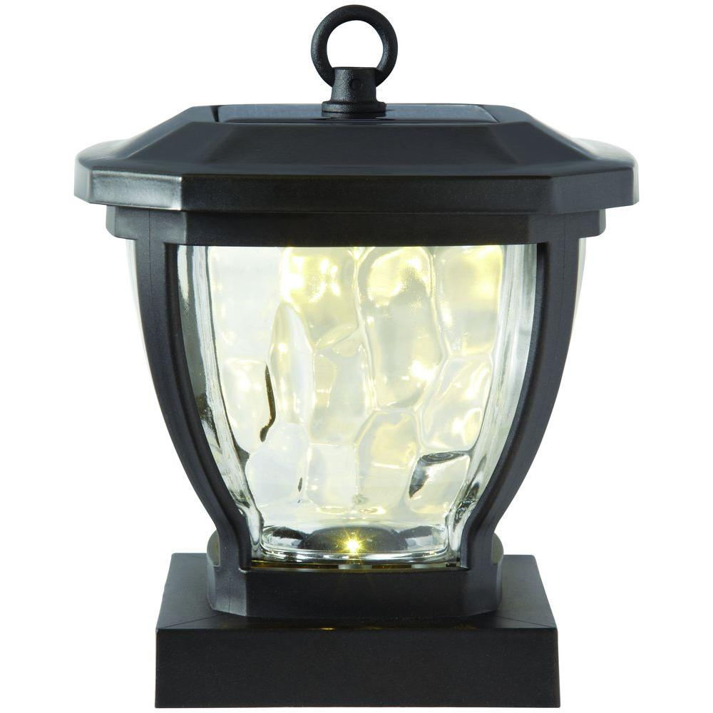 Hampton Bay Solar Bronze Outdoor LED Square Round Deck Post Light ...