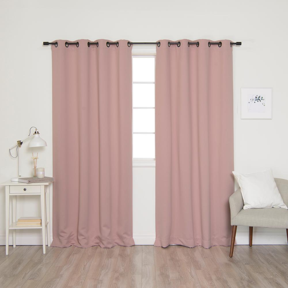 Best Home Fashion 84 in. L Onyx Grommet Blackout Curtains in Dusty Pink (2-Pack)