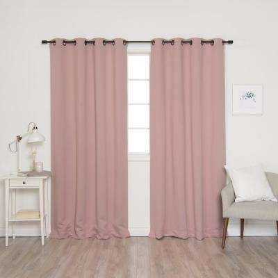 84 in. L Onyx Grommet Blackout Curtains in Dusty Pink (2-Pack)