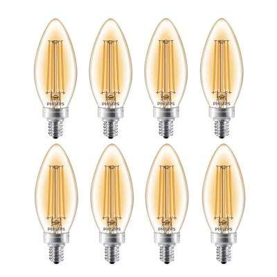 40-Watt Equivalent B11 Dimmable Vintage Edison LED Candle Light Bulb Candelabra Base Amber Warm White (2200K) (8-Pack)
