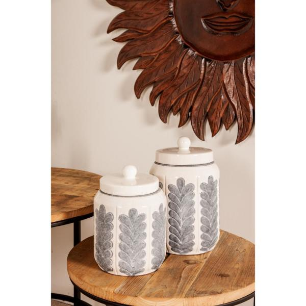 White Ceramic Gray Leaf Patterned Cylindrical Jars with Lid (Set of 2)
