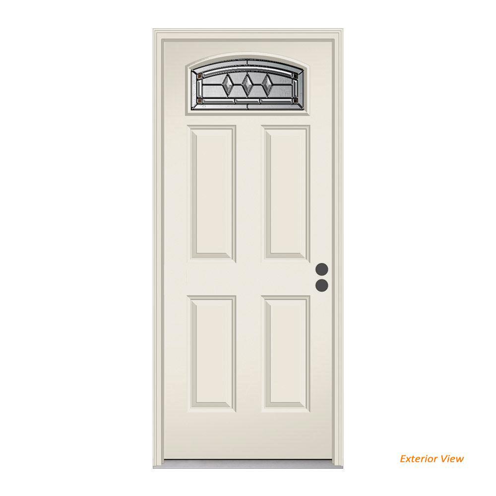 JELD-WEN 36 in. x 80 in. Camber Top Mission Prairie Primed Steel Prehung Left-Hand Inswing Front Door w/Brickmould