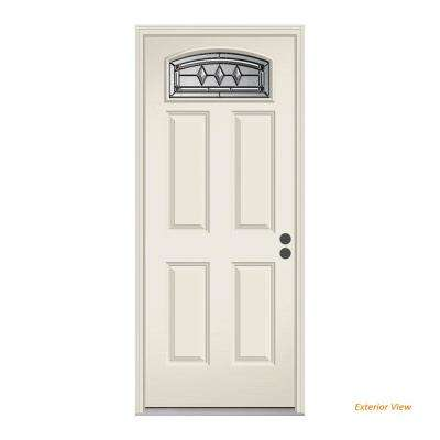 36 in. x 80 in. Camber Top Mission Prairie Primed Steel Prehung Left-Hand Inswing Front Door w/Brickmould