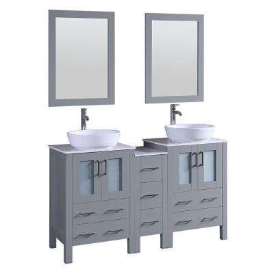 Bosconi 59.5 in. W Double Bath Vanity in Gray with Vanity Top with White Basin and Mirror