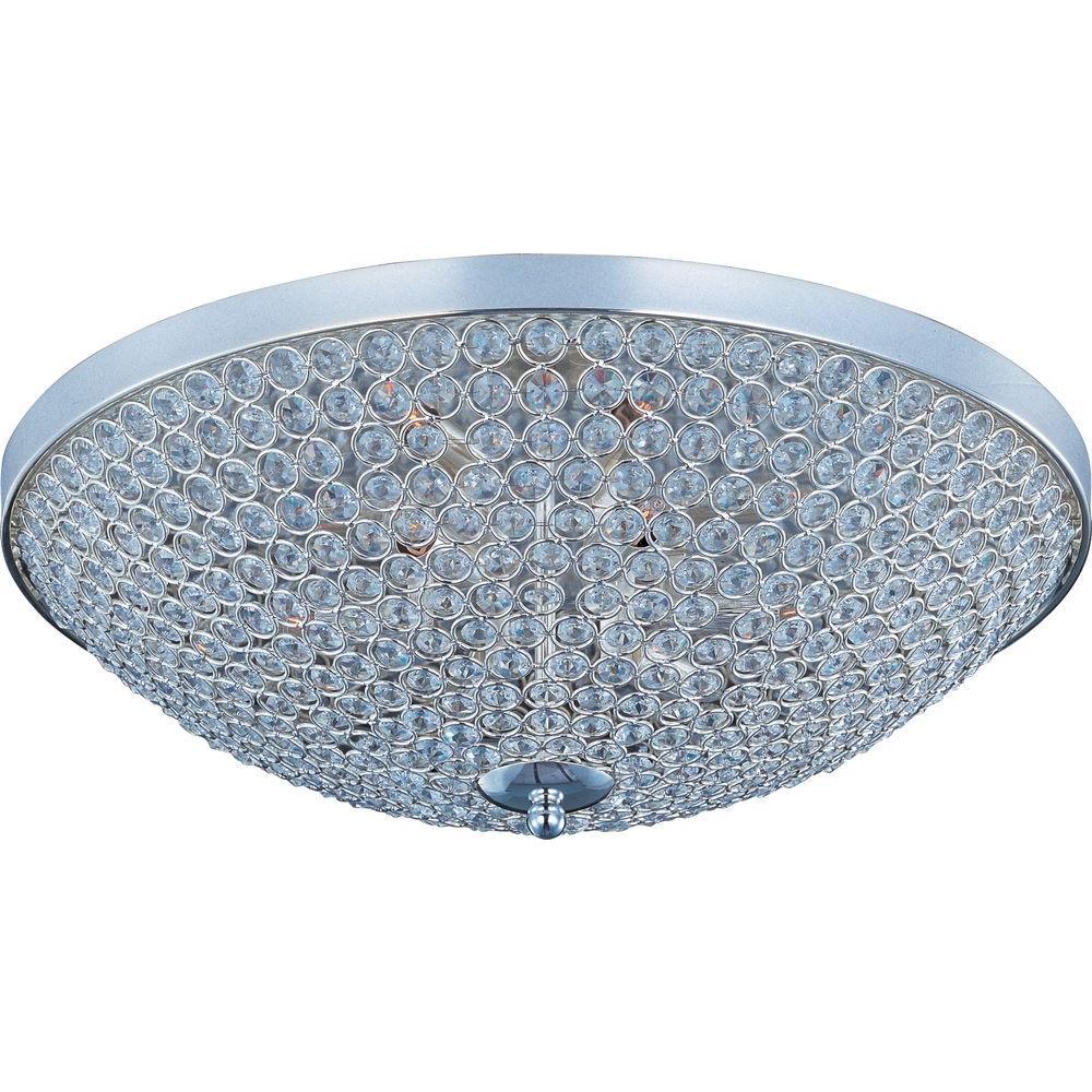 Glimmer 9-Light Plated Silver Flush Mount
