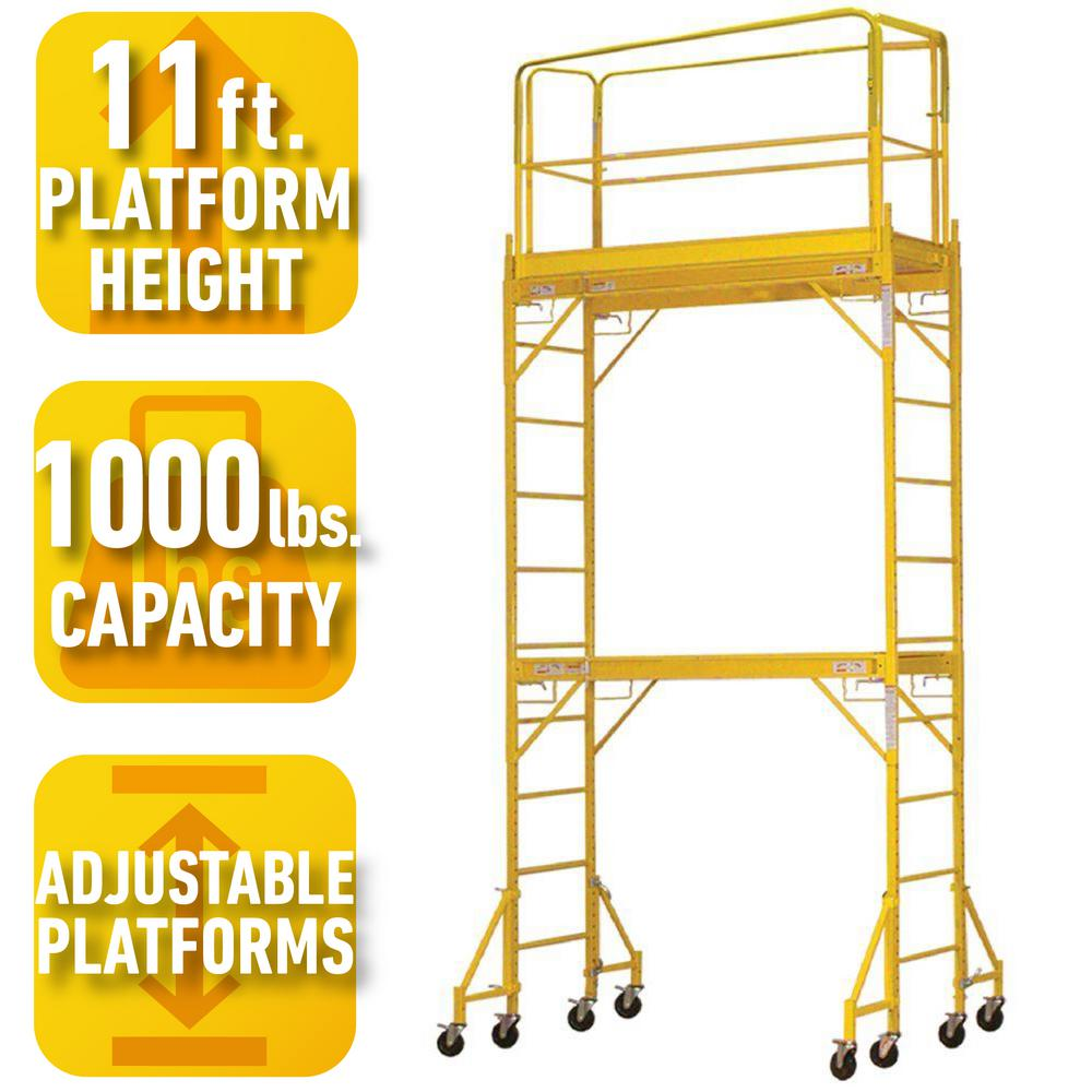 PRO-SERIES 2-Story Rolling Scaffold Tower with 1000 lb. Load Capacity