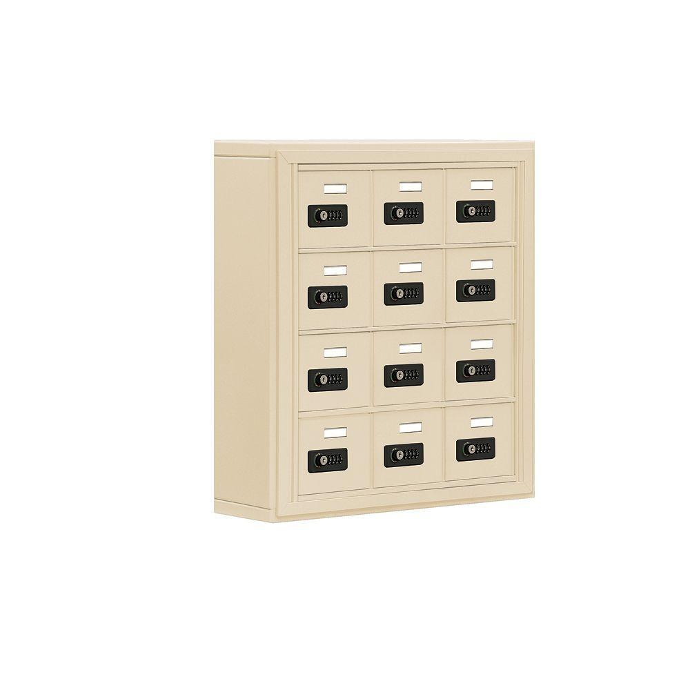 19000 Series 24 in. W x 25.5 in. H x 6.25 in. D 12 A Doors S-Mount Resettable Locks Cell Phone Locker in Sandstone