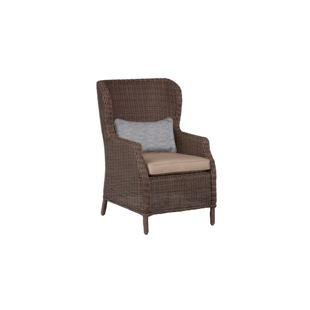 Vineyard Patio Cafe Chair in Sparrow with Congo Lumbar Pillow (2-Pack)