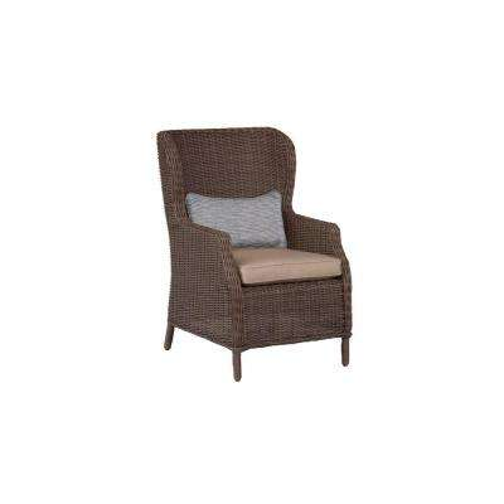 Vineyard Patio Cafe Chair in Sparrow with Congo Lumbar Pillow (2-Pack) -- CUSTOM