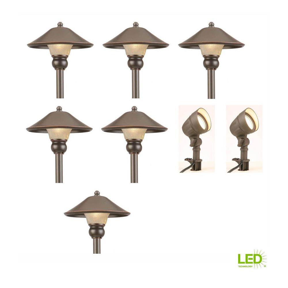Low-Voltage Bronze Outdoor Integrated LED Landscape Path Light and Flood Light Kit (8-Pack)