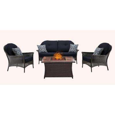 San Marino 4-Piece Metal Patio Seating Set Wood Grain-Top Fire Pit with Navy Blue Cushions