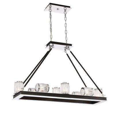 Barile Collection 8-Light Polished Chrome Chandelier with Glass Shade