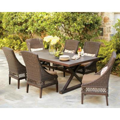 Woodbury Dark Brown 7-Piece Wicker Outdoor Patio Dining Set with Sunbrella Beige Tan Cushions