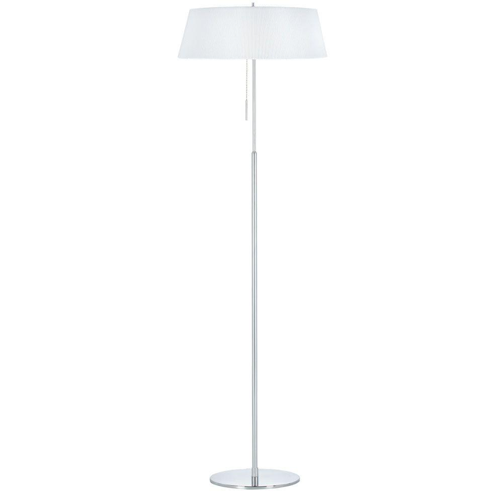 Catherine 62 in. Incandescent Polished Chrome Floor Lamp with White Shades