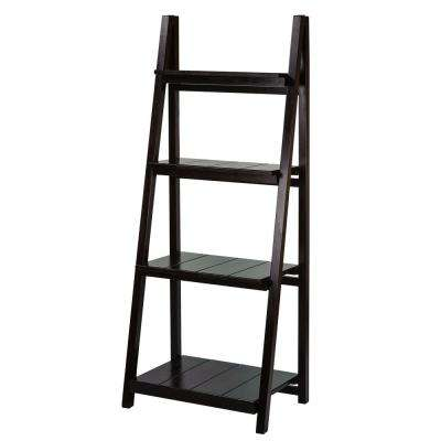 Manhasset Slatted Espresso 4-Shelf Folding Bookcase