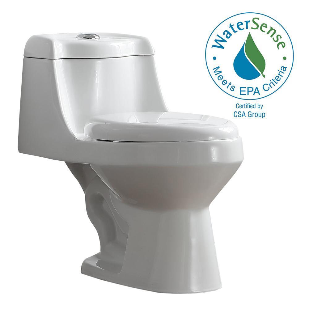 Fenwick 1-Piece 1.6 GPF/1.1 GPF Dual Flush Elongated Toilet in White