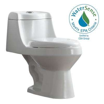 Fenwick 1-Piece 1.6 GPF/1.1 GPF Dual Flush Elongated Toilet in White