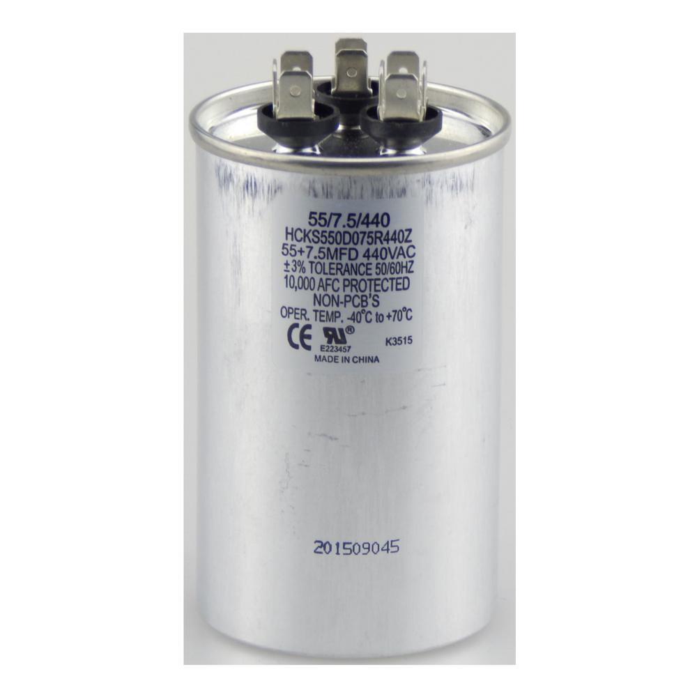 440-Volt 55/7.5 MFD Dual Rated Motor Run Round Capacitor