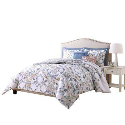 Solaine Blue, Rust and White King 5-Piece Reversible Comforter Set