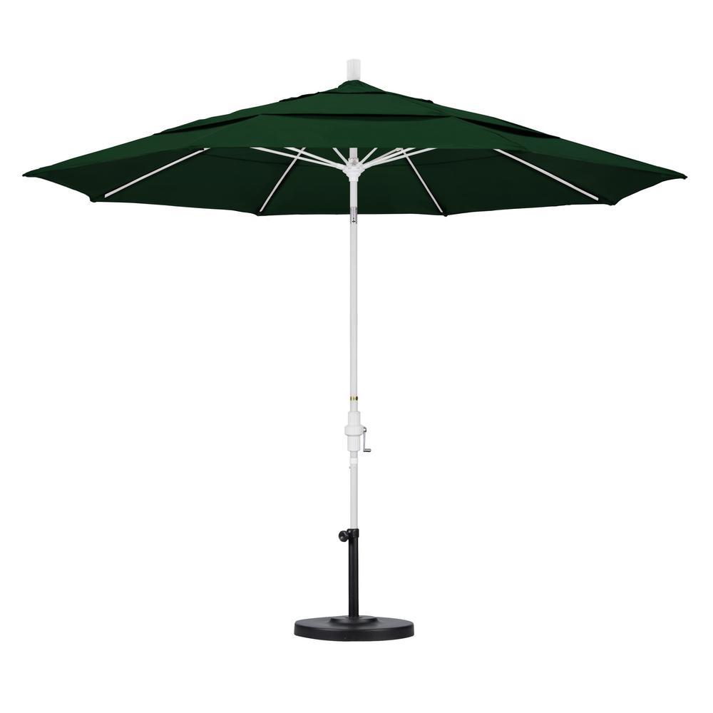 11 ft. Fiberglass Collar Tilt Double Vented Patio Umbrella in Hunter
