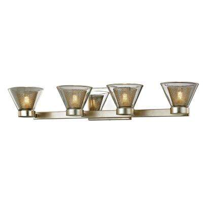 Wink 4-Light Silver Leaf 27.5 in. W LED Bath Light with Polished Chrome Accents and Clear Glass Shade