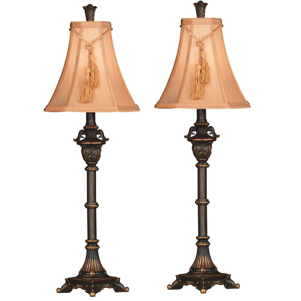Kenroy Home Rowan 31 in. Metallic Bronze Buffet Lamp Set (2-Pack ...