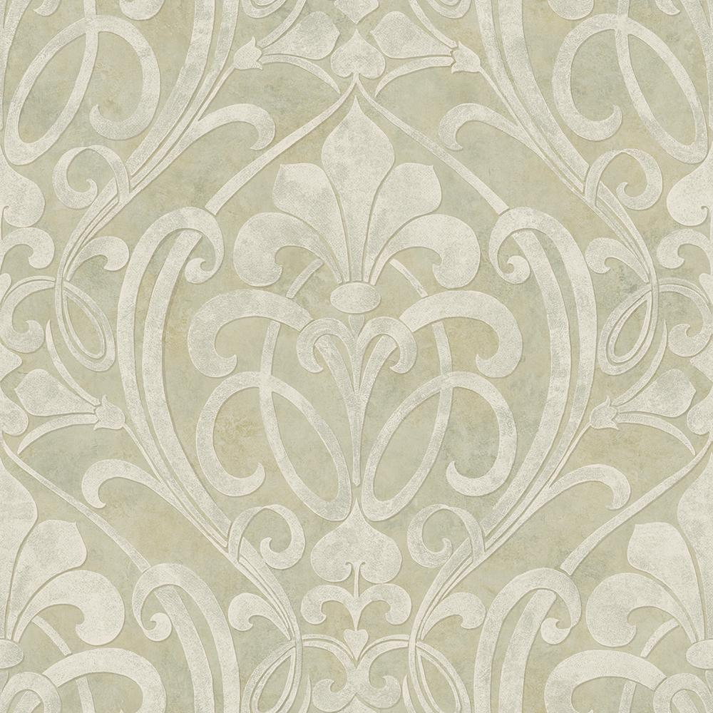 Zoe Olive Coco Damask Wallpaper