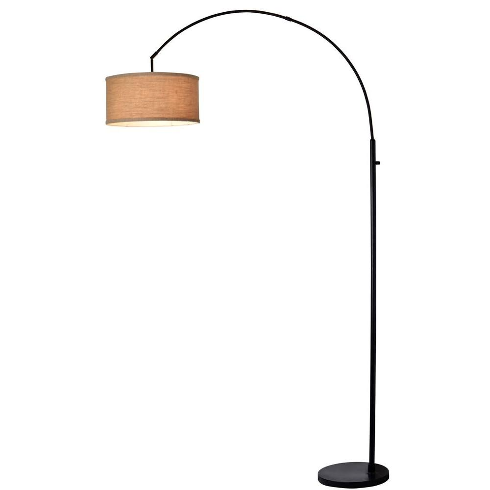 Arc Floor Lamp With Burlap Shade