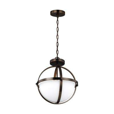 Alturas 2-Light Brushed Oil Rubbed Bronze Semi-Flush Convertible Pendant with LED Bulbs